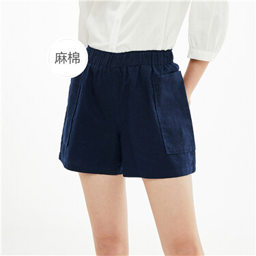 Natural Linen Cotton Large Patch Pocket Elastic Waist Casual Shorts