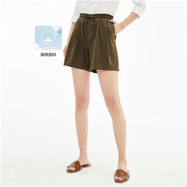 天然麻棉绑带松紧腰休闲短裤