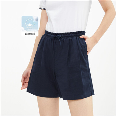 Linen-cotton ribbon elastic waist shorts