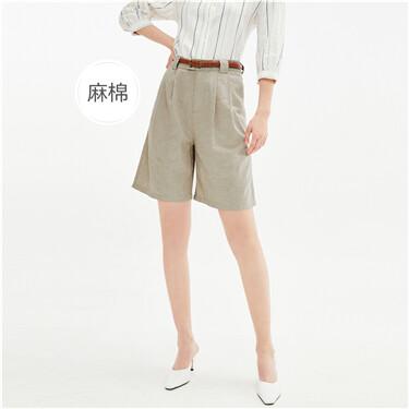 天然麻棉褶皱中腰休闲五分裤