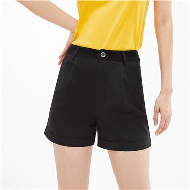 Roll-up cuffs mid-rise lightweight shorts