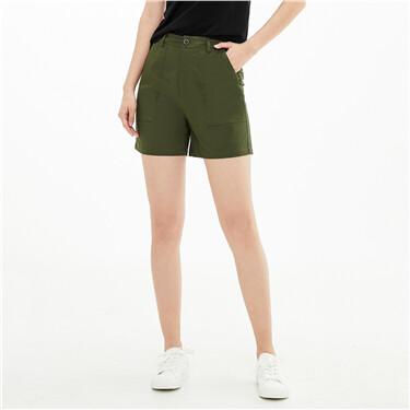 纯棉大贴袋中腰薄休闲短裤