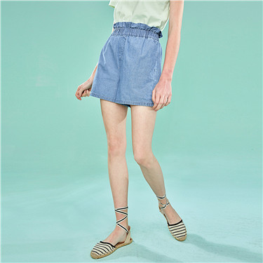 Ruffled elastic waist thin denim shorts