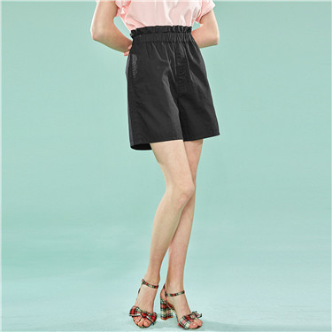 Ruffled waist cotton casual shorts