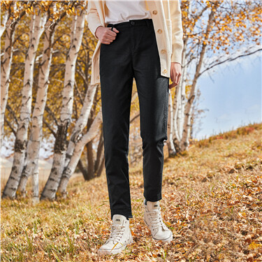 Cotton banded cuffs casual pants