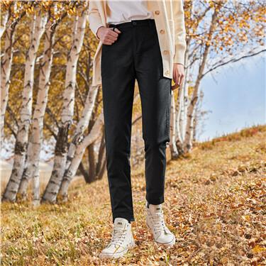 弹力棉西裤头束脚休闲长裤