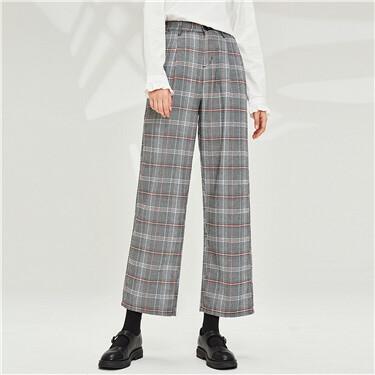 Elastic waistband plaid wide-leg pants