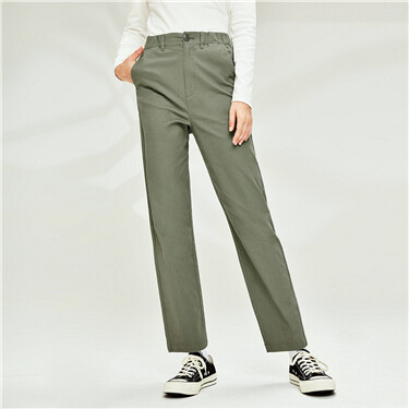 Plain pockets straight mid-rise pants