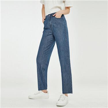 纯棉五袋款高腰薄牛仔长裤