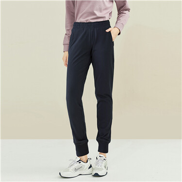 Solid drawstring jogger pants