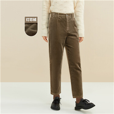 Mid-rise corduroy pants