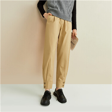 Buttons cuffs mid-rise tapered pants
