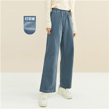 Corduroy elastic waistband wide-leg pants