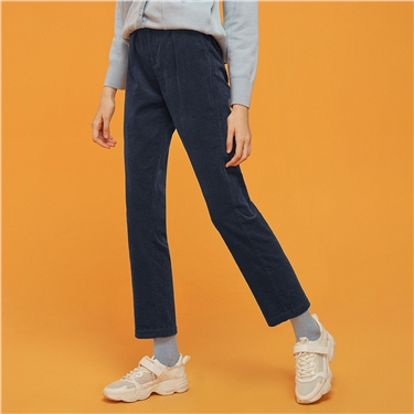 Thick corduroy solid pants