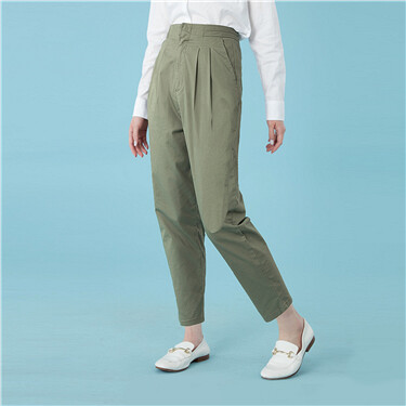 Pleated waistband high rise straight pants