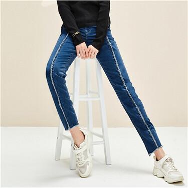 毛边直筒牛仔裤