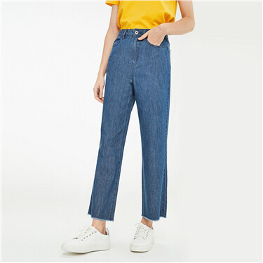 Rough edge lightweight ankle-length jeans