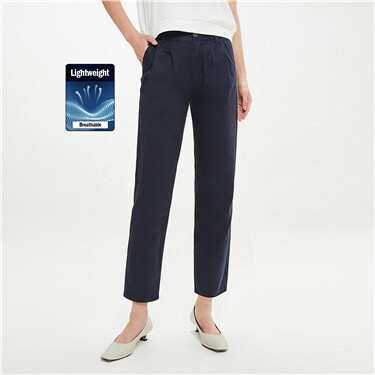 Stretchy pleated mid-rise ankle-length pants