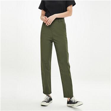 Mid-rise elastic waistband pants