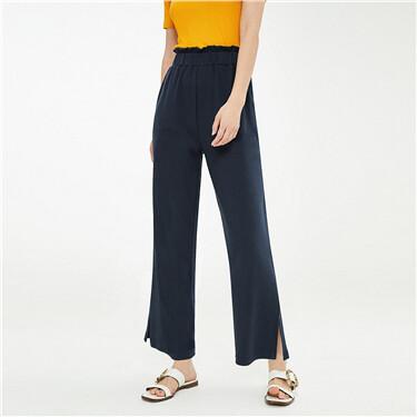 Twill vent elastic waistband pants