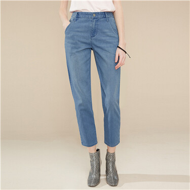 Five-pocket ankle-length straight jeans
