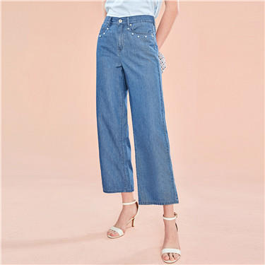 Beads wide leg ankle-length denim pants