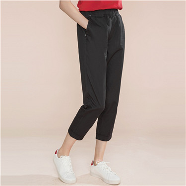 Elastic waistband cotton cropped pants