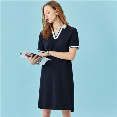 Stretchy v-neck polo dress