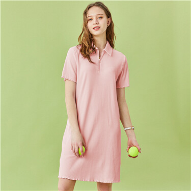 Stretchy ribbed slim fit polo dress