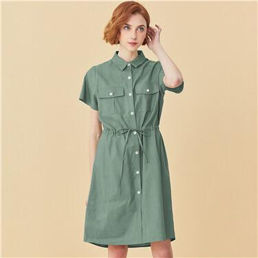 Multi-pocket drawstring at waist dress