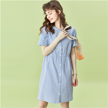 Seersucker short-sleeve dress