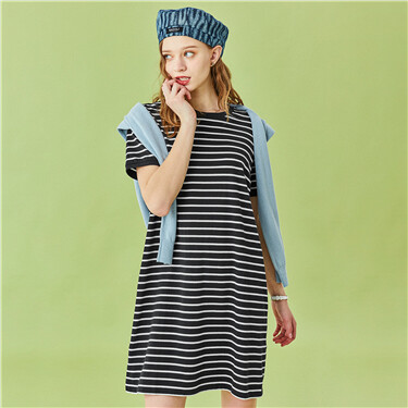 Crew Neck Stripe Short Sleeves Dress