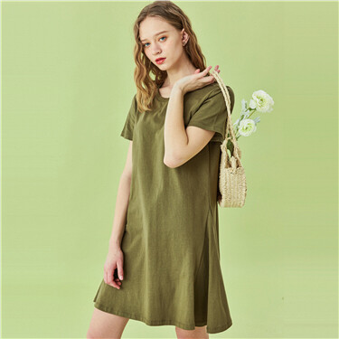 A-lined short sleeves dress