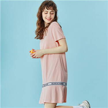 Ribbon at hem short-sleeve dress