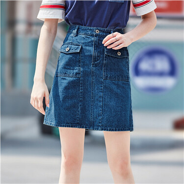 Flap pockets cargo denim skirt