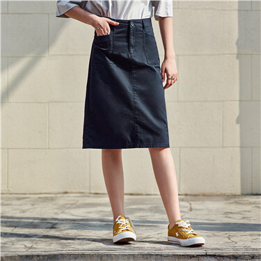 Solid slant pockets denim skirt