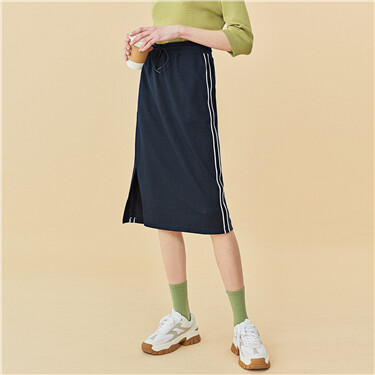 Side webbing elastic waist-band skirt