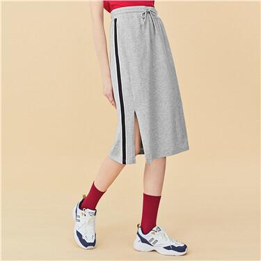 Side webbing elastic waist-band skirt