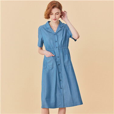 Tailored collar elastic waistband dress
