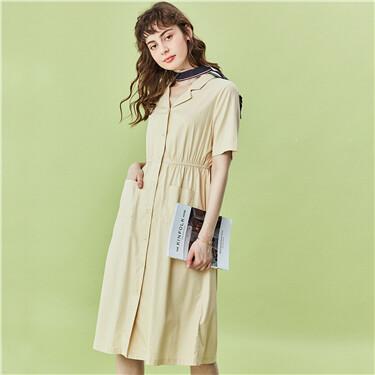 Tailored collar elastic waistband dress