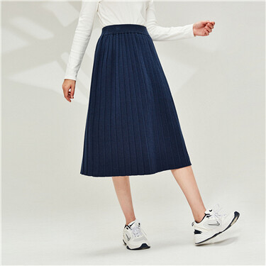Elastic waistband knitted pleated skirt