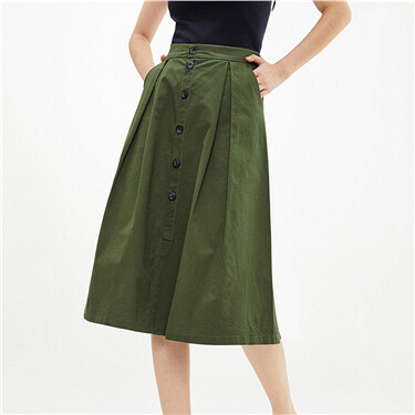 Elastic waistband pleated skirt
