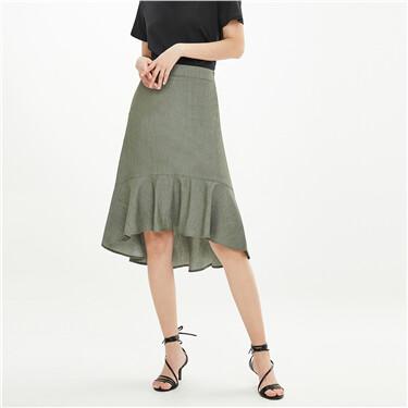 Lotus hem elastic waistband skirt