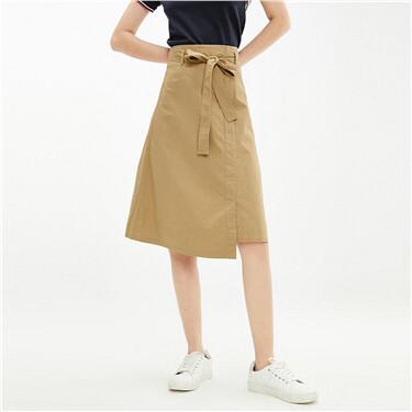 不对称开叉下摆绑带纯棉半身裙
