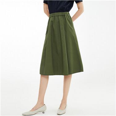Pleated elastic waistband skirt