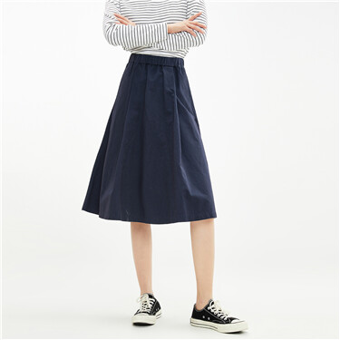 Pleated elastic waistband skirt