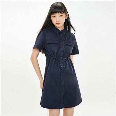 Banded waist cargo pockets dress