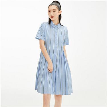 Faux tencel pleated half placket dress
