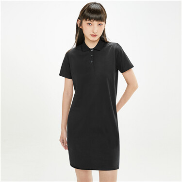 Plain short-sleeve polo dress