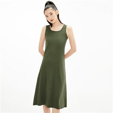 Twill plain crewneck dress
